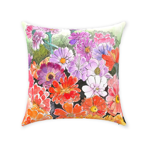 Impressionistic Flower Throw Pillow
