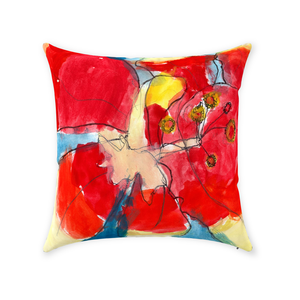 Red & Yellow Waterlily Throw Pillow