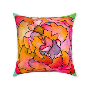 Pink & Green Flower Throw Pillow