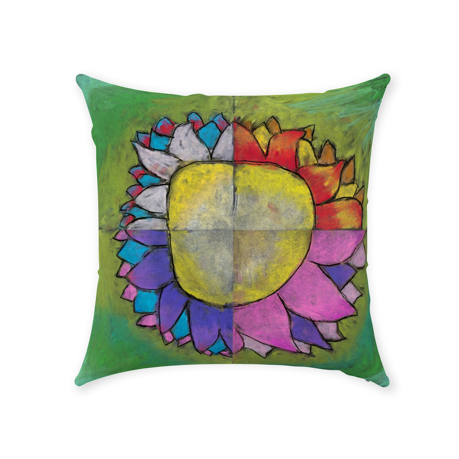4 Quadrants Flower Throw Pillow