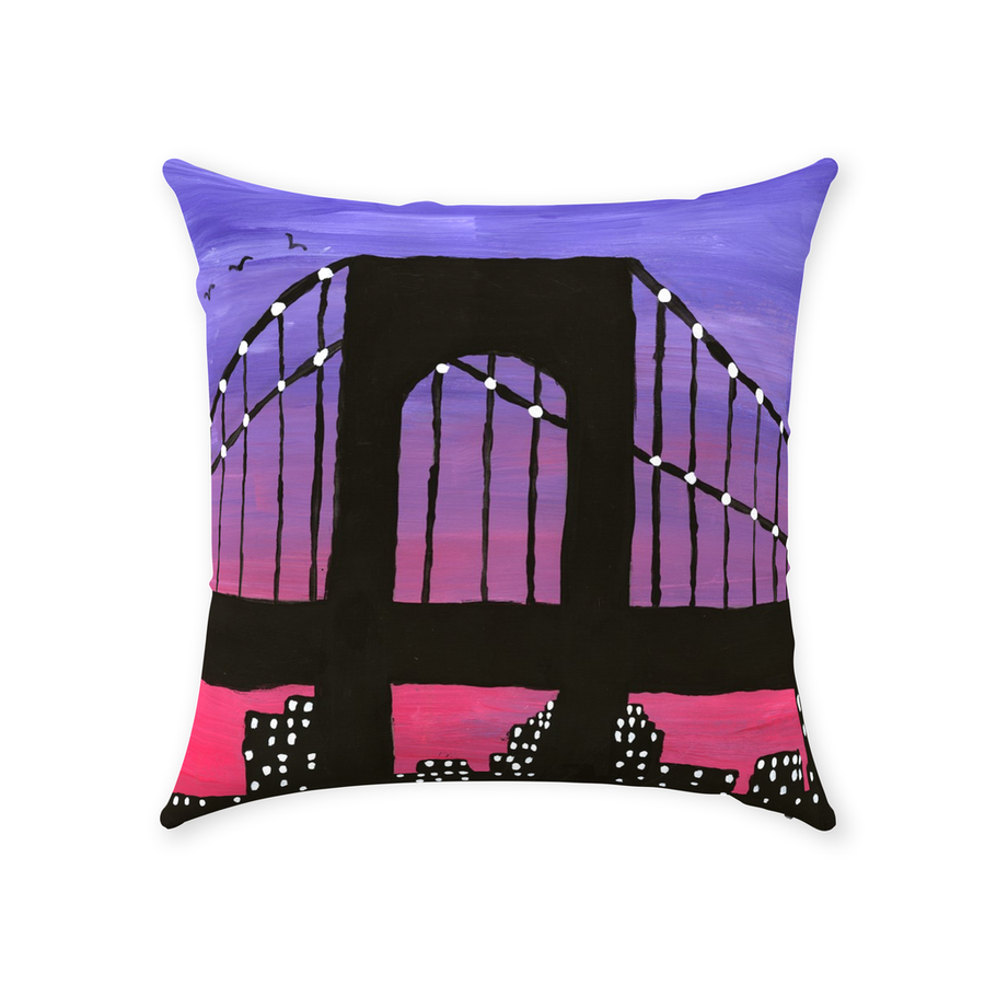 New York City Bridge Throw Pillow