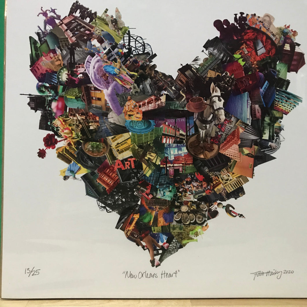 "Josh Hailey ""Louisiana Heart""  collage Limited Edition Print"