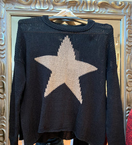 Star slouchy crew sweater