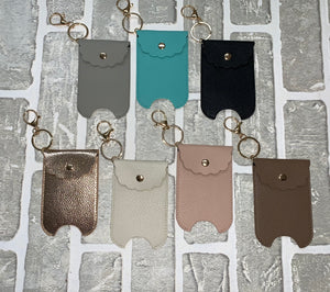 Faux leather hand sanitizer holder keychain