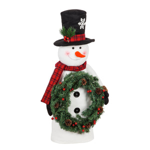 Tabletop Snowman with LED Wreath
