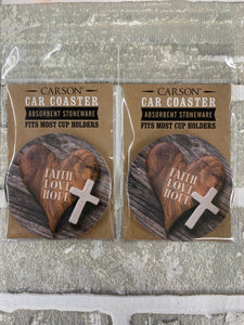 Faith love hope car coasters