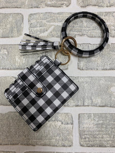 White and black bangle with wallet keychain