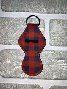 Red and black buffalo plaid chapstick holder keychain blanks