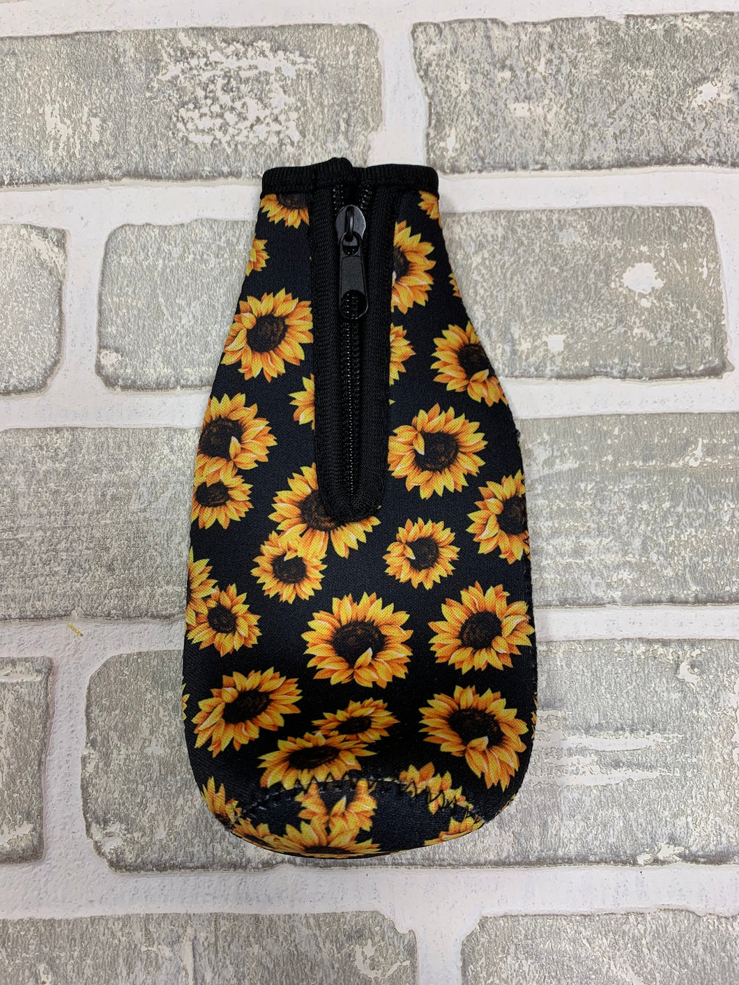 Black sunflower bottle koozie blanks