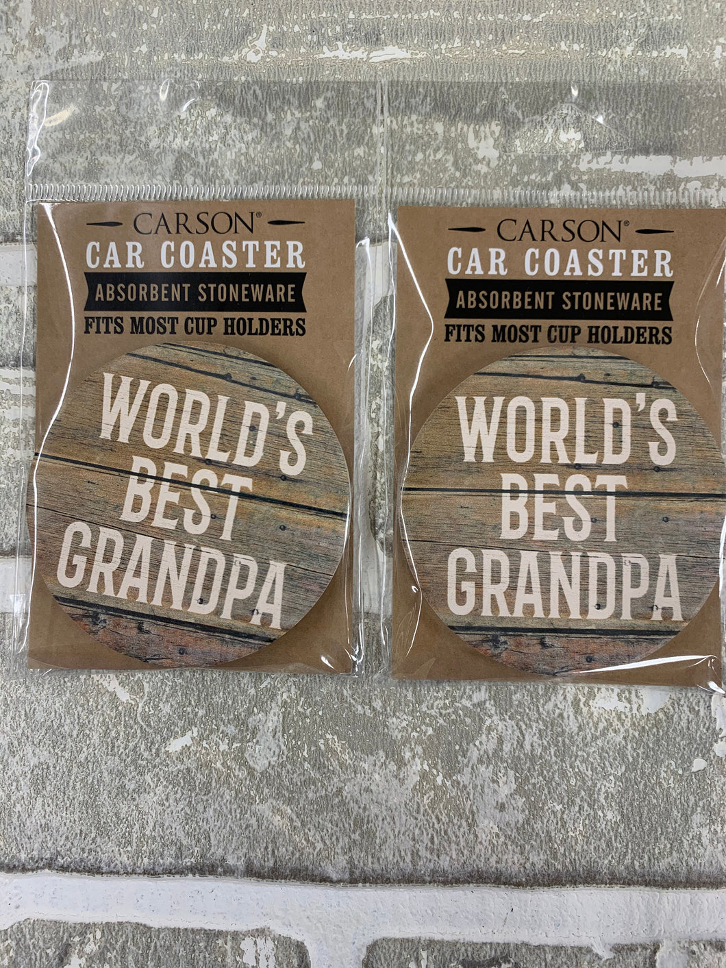 Worlds best grandpa car coasters