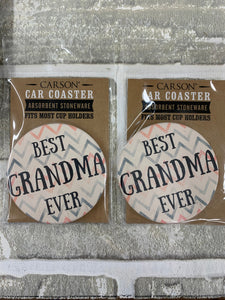 Best grandma ever car coasters.