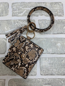 Snake print bangle with wallet keychain