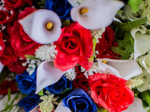 Red, White & Blue Calla Lily and Rose Bush
