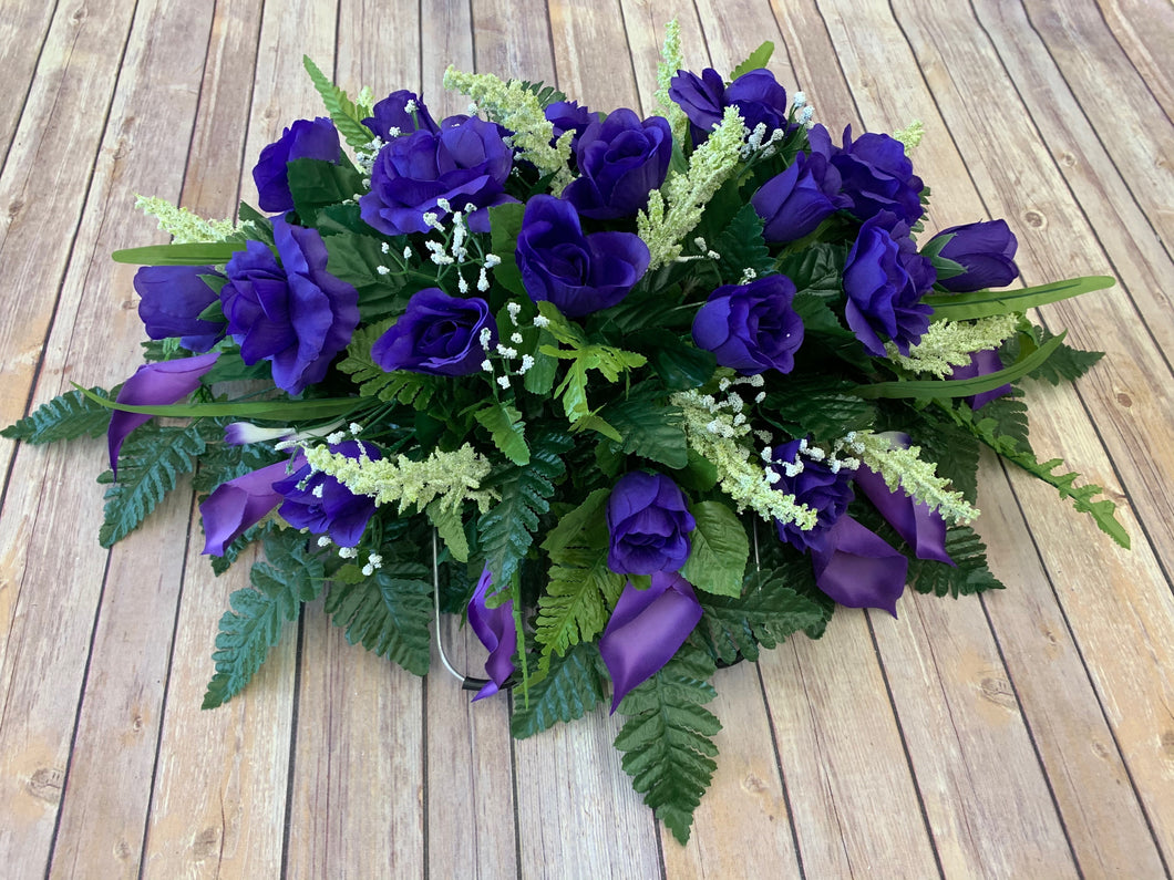 Purple Rose & Calla Lily Saddle