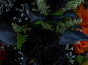 Black Calla Lily & Rose Bush