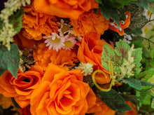 Load image into Gallery viewer, Orange Carnation and Open Rose Bush