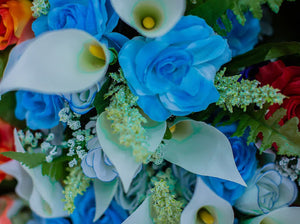 Aqua Calla Lily & Rose Bush