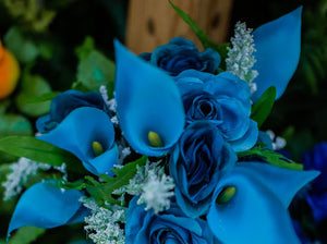 Turquoise Calla Lily & Rose Bush