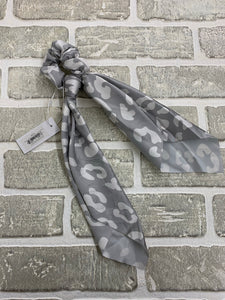 Wildly wonderful gray scarf scrunchie