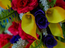 Load image into Gallery viewer, Red, Yellow & Purple Calla Lily and Rose Bush