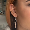 2Tone Feather Drop Earrings