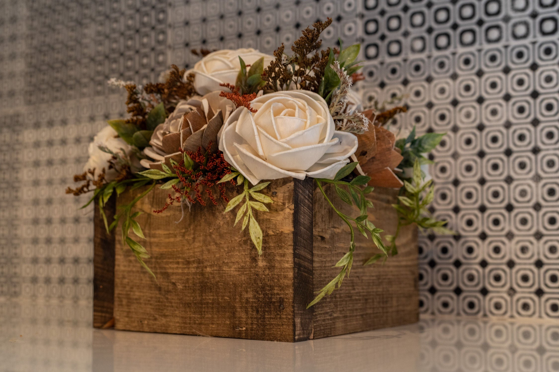 Wood Flower Arrangement in a Wood Box