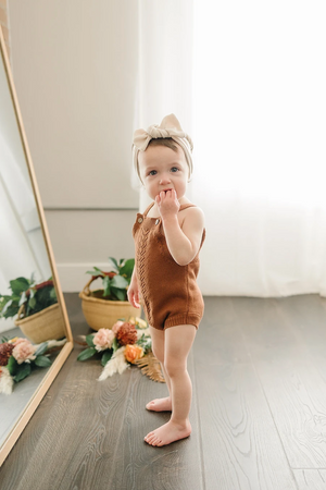 Load image into Gallery viewer, Embellished Rust Knit Romper