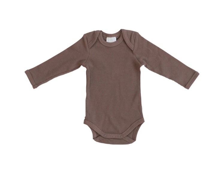 Load image into Gallery viewer, Organic Ribbed Cotton Long Sleeve Bodysuit
