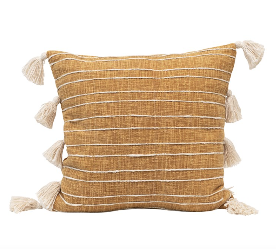 Cotton Woven Striped Pillow w/ Tassels