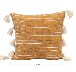 Load image into Gallery viewer, Cotton Woven Striped Pillow w/ Tassels