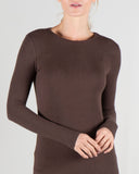 basic crew ribbed long sleeve top