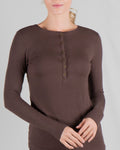 Henley Long Sleeve Ribbed Top
