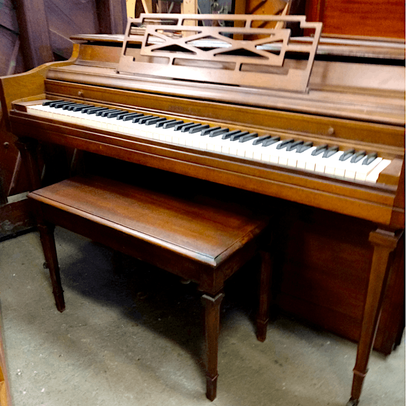 "(Rental) Grinnell Walnut Satin Spinet (37"")"