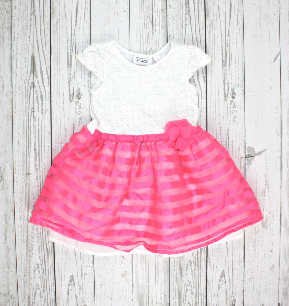 Children's Place dress, pink and white dress, girls easter dress