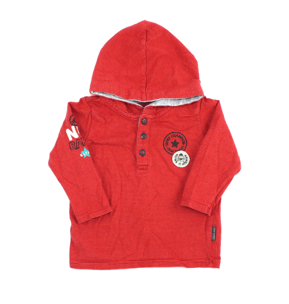 Souris Mini top, Souris Mini boys, red hooded top, second hand baby clothing