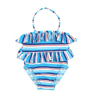 blue swimsuit, striped swimsuit, Generations swimsuit, girls swimsuit, toddler swimwear, used swimwear
