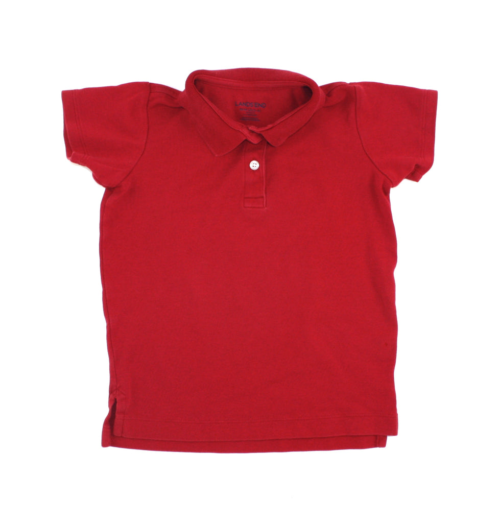 red t-shirt, polo t-shirt. red polo, Lands' End polo