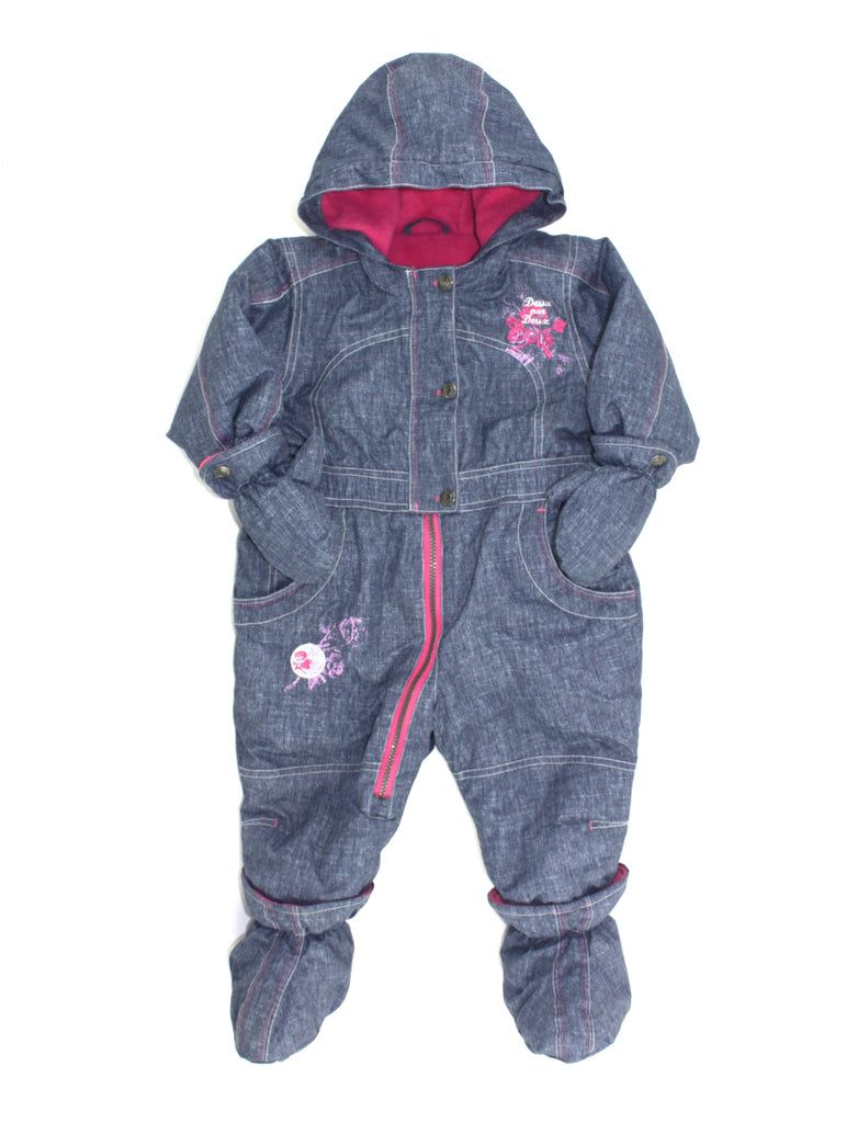 Deux par Deux snowsuit, blue snowsuit, girls snowsuit, one-piece snowsuit