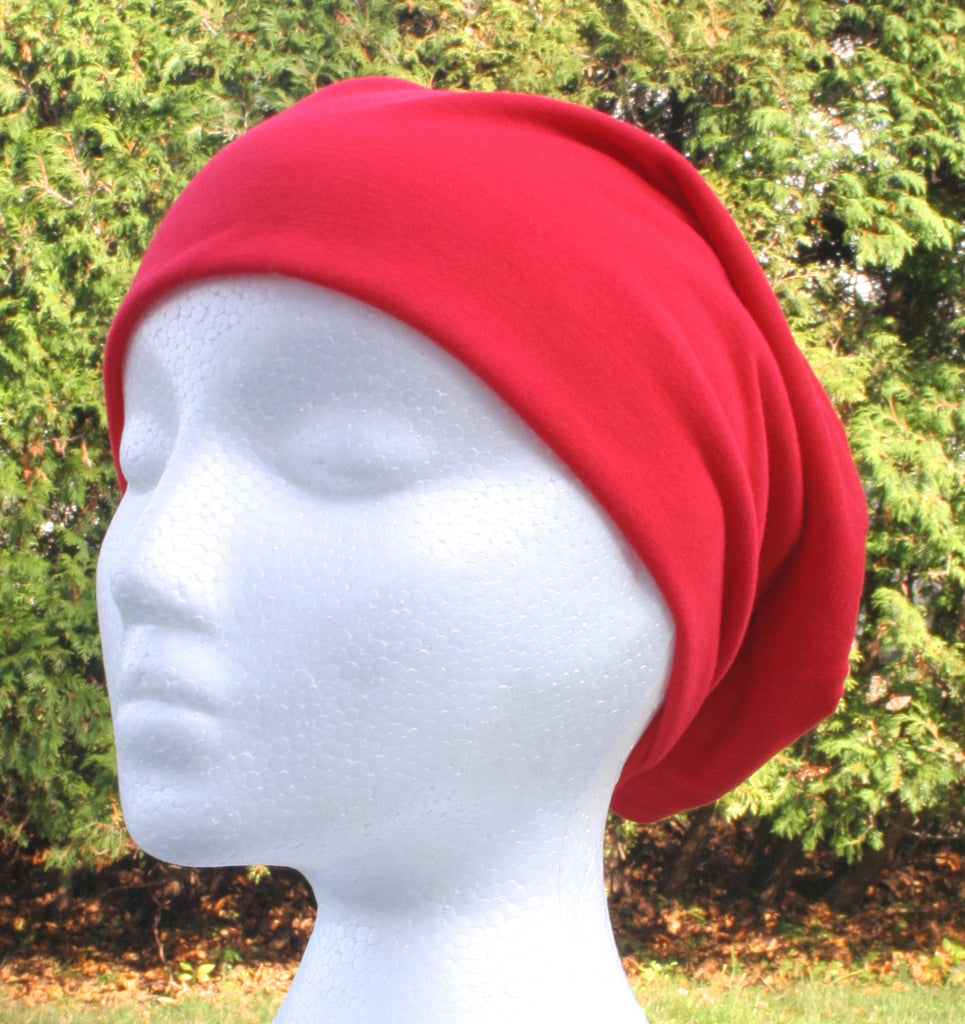 slouchy hat, beanie hat, red hat
