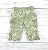 green capri pants, floral camo, GapKids capri, capri for girls