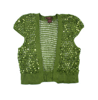 green vest, green cardigan, DMBM clothing, sequined cardigan