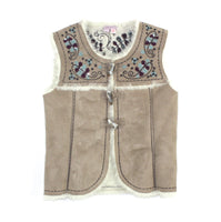Monsoon vest, beige vest, faux suede vest, girls vest, Monsoon girls