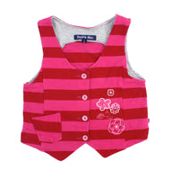 Souris Mini vest, striped vest, girls vest, pink and red stripes