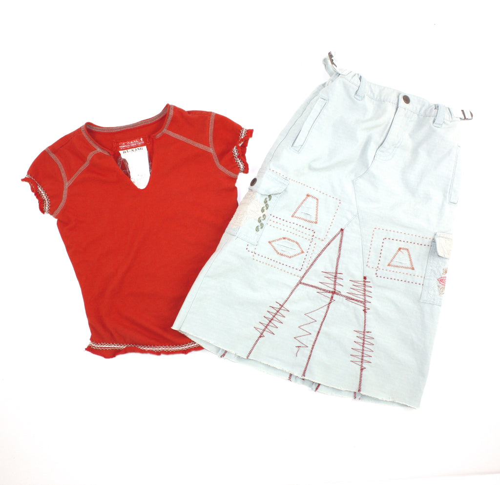 Da-Nang clothing, skirt and t-shirt set, girls outfit