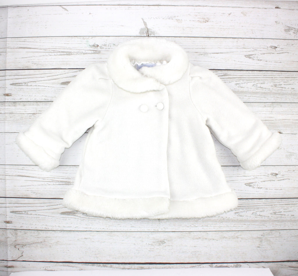 fleece coat, white coat for baby girls, fancy coat for girls