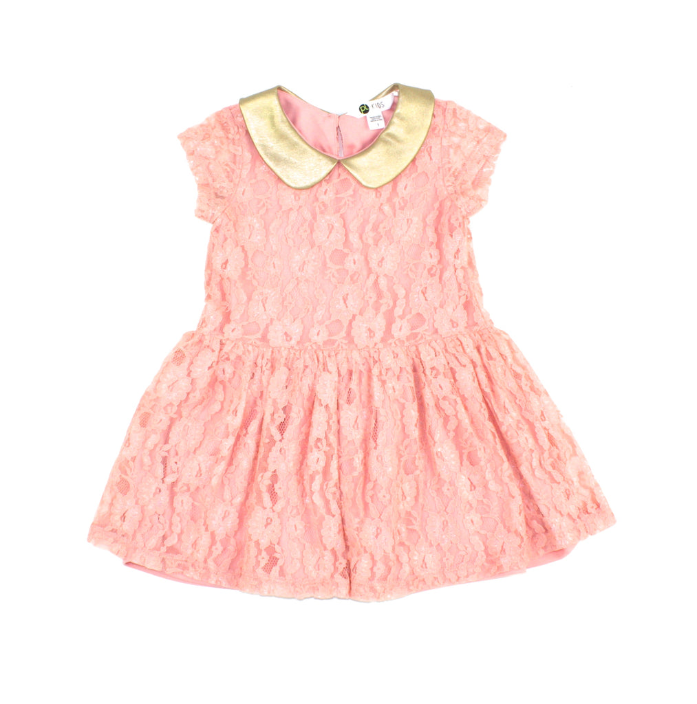peach dress, Petit Lem dress, lace dress