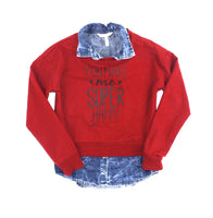 You Make Me Super Happy, On S'en Fout de Garçons, red sweatshirt