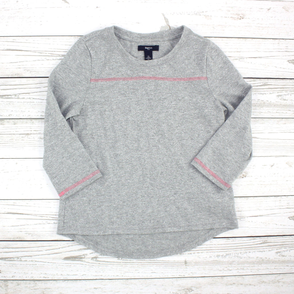 silver top, silver sweater, girls GapKids