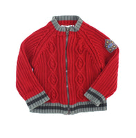 Pixel sweater, red sweater, boys zip sweater