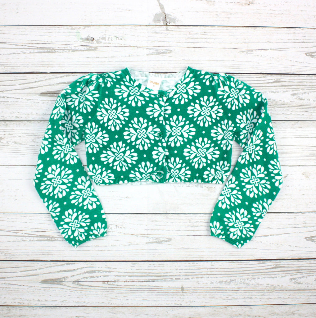 green cardigan, green bolero, Gymboree cardigan, Gymboree bolero, girls cardigan
